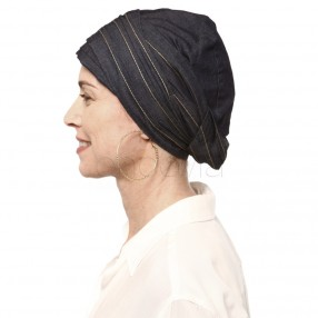 Turban chimio Calla - Noir Denim