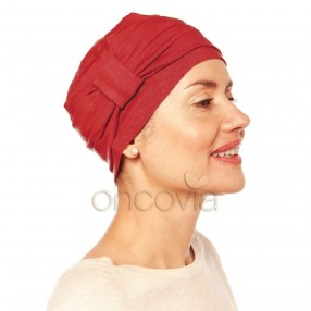 Bonnet Chimio Edith en coton - Rouge