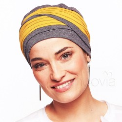 Turban en bambou Laura Gris/Moutarde