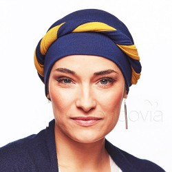 Julia Long-Tie Head Scarf - Navy Blue & Mustard