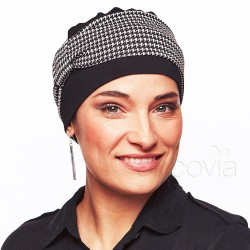 Edith Chemo Cap - Black Houndstooth