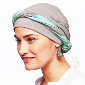 Julia Chemo Head Scarf - Grey Turquoise