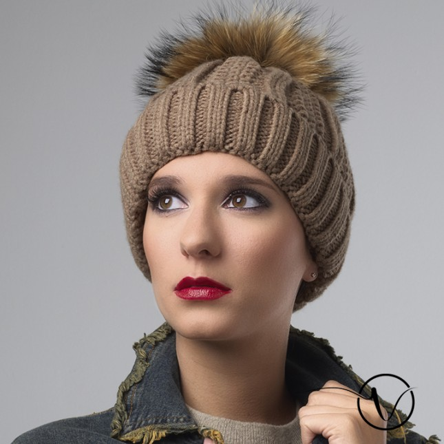 Camel Wool Chemo Cap with Pompom - Charly