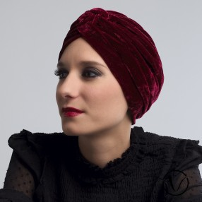 Turban chimio velours bordeaux - Éléonor