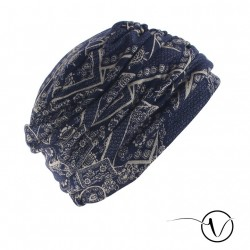 Chemo turban lined with cotton Fanny - Moscow blue