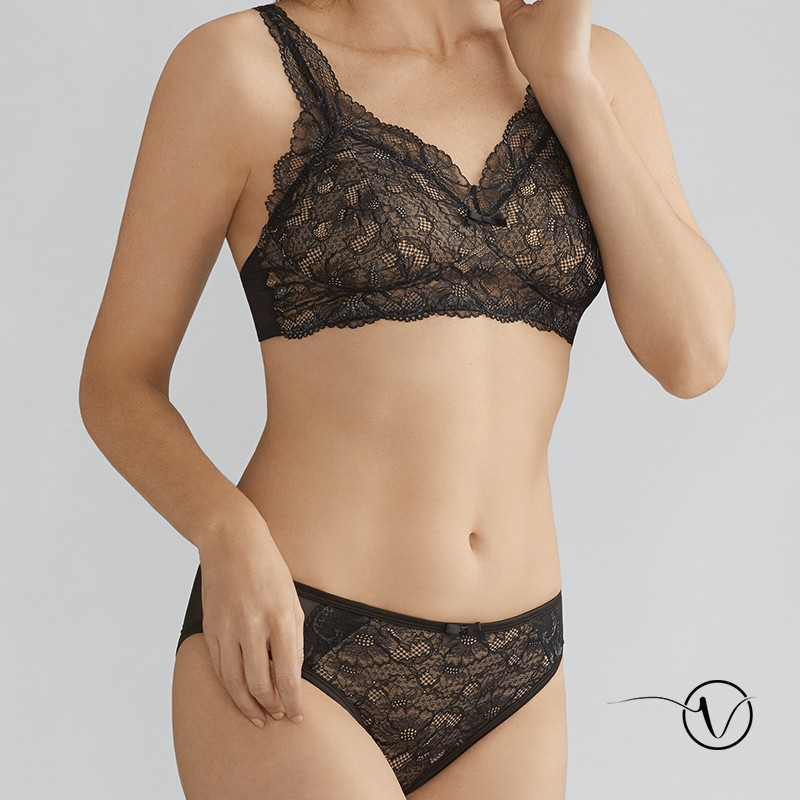 8a3a732fa1693 Amoena Wire-free mastectomy bra Melody in black with pockets