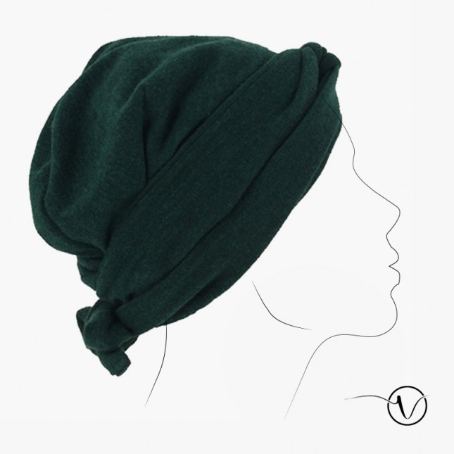 Winter chemo head scarf Estelle Tricot - Forest-green