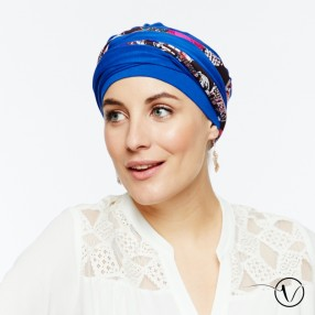 Long-tie chemo head scarf - Saree reversible blue