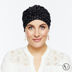 Chemo Cap black with grey dots - Exclu