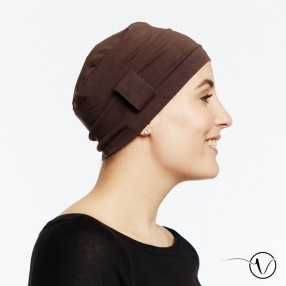 Chemo cap Lara - brown - with loop