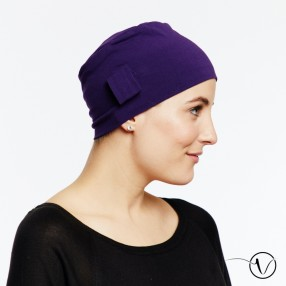 Chemo cap Lara - plum - with loop
