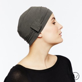 Chemo cap Lara - dark grey - with loop