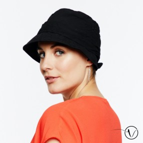 Ella Crinkled Cotton Chemo Hat - Black