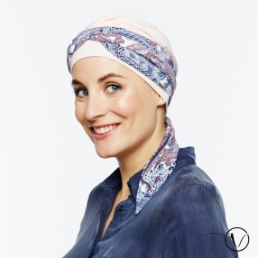 Bonnet Foulard chimio Bianca rose clair