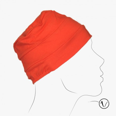 Bonnet coton pour chimio Pascale - Orange