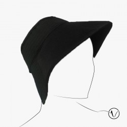 Foldable Black hat in cotton