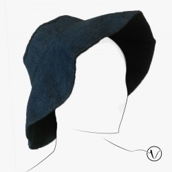 Foldable blue Jeans hat in cotton
