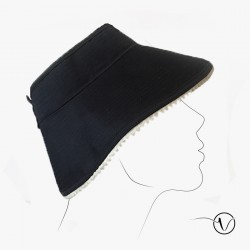 Foldable blue marine hat in cotton
