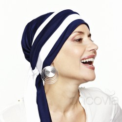 Julia Chemo Head Scarf - Navy Blue & White