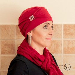 Bonnet chimio en bambou Lotos Rouge
