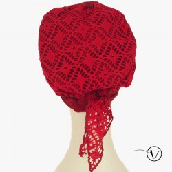 Chemo cap with headband Kenya - Red