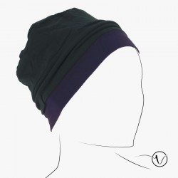 Bonnet in coton - Reversible Black and Purple