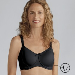 Lilly Padded Wireless Mastectomy Bra - Black