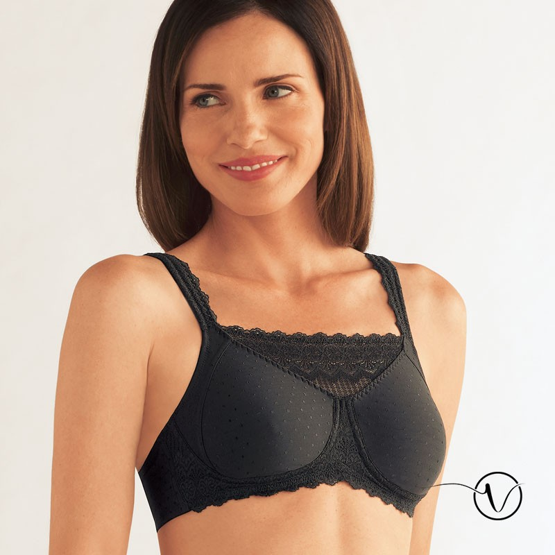 BLACK MASTECTOMY BRA SIZE 40C 40D POST SURGERY BILATERAL POCKETS LACE SOFT CUP