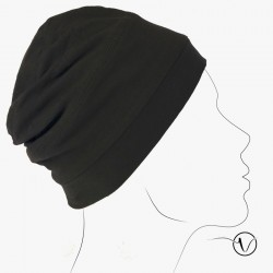 Turban en Coton - Réversible Noir Marron