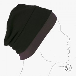 Bonnet in coton - Reversible Black and Brown