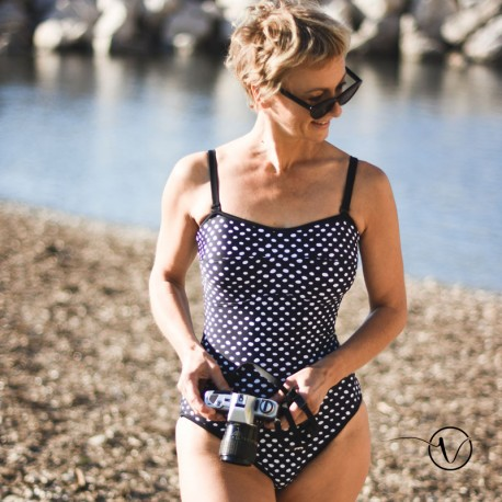 Mastectomy swimsuit Black and White with dots
