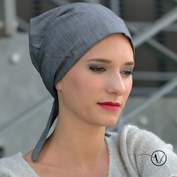 Pre-tied Bandana Head Scarf - Grey Denim