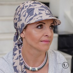 Chemo Hat with lashes - Kaja Blue Grey