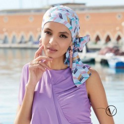 Chemo Head scarf Mayte - White Multi