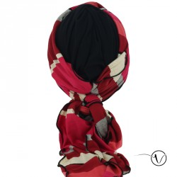 Turban voile Noir Rayures Rouges