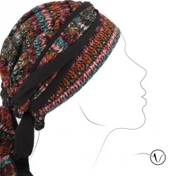 Turban marron et dentelle multicolore