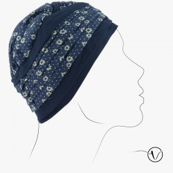 Bamboo chemo cap - Florie blue