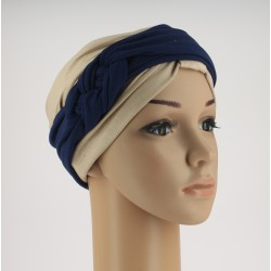 Chemo Headband Sara Navy blue with braided part
