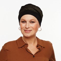 Doris Bamboo Turban - Black and gold