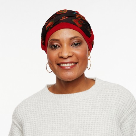 Bamboo Chemo cap Lou - Red - with loop and headband