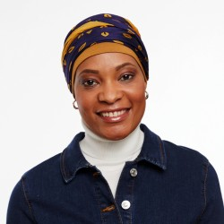 Chemo Head Scarf cap Zoa blue yellow | Oncovia