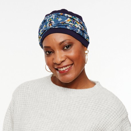 Pack turban Favori with detachable headband blue