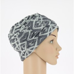 Edith Knitted Chemo Cap - Grey with motives