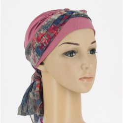 Chemo Head Scarf Christina with long ties - Cubes