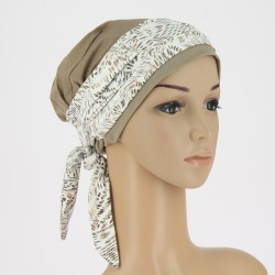 Estelle Bamboo Chemo Head Scarf with Long Ties – Brown Ivory