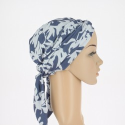 Estelle Bamboo Chemo Head Scarf with Long Ties – Blue grey