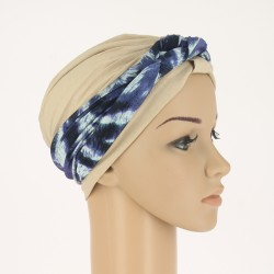 Bamboo Chemo Headband Rebecca Blue Feather - with braided part