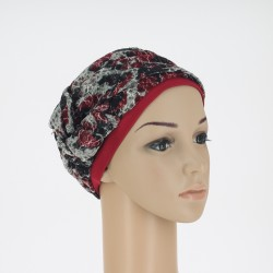 Bonnet turban Mathilde Rouge - Dentelle