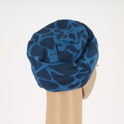 Edith Knitted Chemo Cap - blue with motives