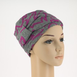 Edith Knitted Chemo Cap - Grey purple patterned